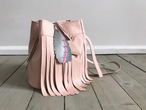 Bucket Wild Fringes Bag Pale Pink Feather + Heart