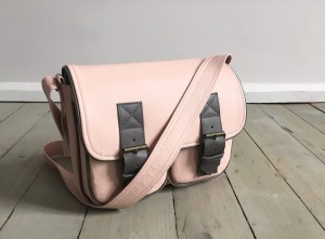 In My Pockets Leather Midi Pale Pink + Grey