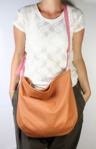 Little Long Hobo Leather Brown + Pink
