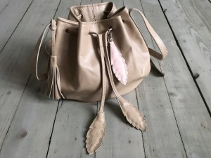 Little Bucket Feathers Bag Nude Ready to Go!