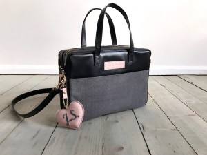 Torba Git Black + Grey + Pale Pink + Heart